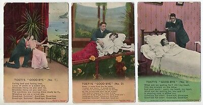 """Bamforth Song Card * Tosti's """"good-Bye"""" * Wwi Romance * Set Of 3 *4739* A25"""
