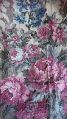 BEAUTIFUL MORCEAU ANTIQUE FRENCH PRINTED COTTON WEAVE FABRIC c1930 ROSES