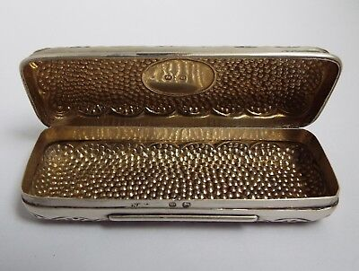 Lovely Clean Decorative English Antique 1896 Solid Sterling Silver & Gilded Box