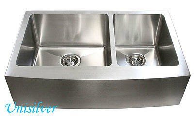 "33"" Stainless Steel Double Bowl 60/40 15mm Radius Apron Kitchen Sink"