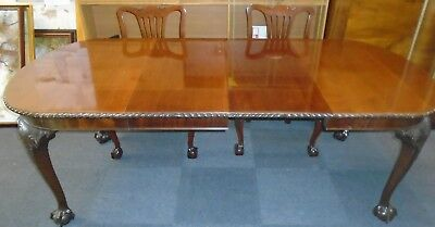 Chippendale Style Dark Mahogany Extending Dining Table & 4 Chair Frames - P29