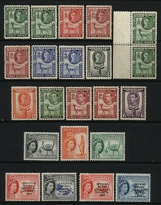 Somaliland Protectorate Collection 22 KGVI / QEII Stamps Mounted Mint