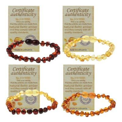 14CM Genuine Baltic Amber Teething Bracelet Raw Anklet Baby Beads for Teethers