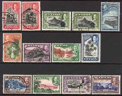 Ceylon KGV 1935-36 Complete Set Inc all listed perf sizes SG368-78 Used Cat £41