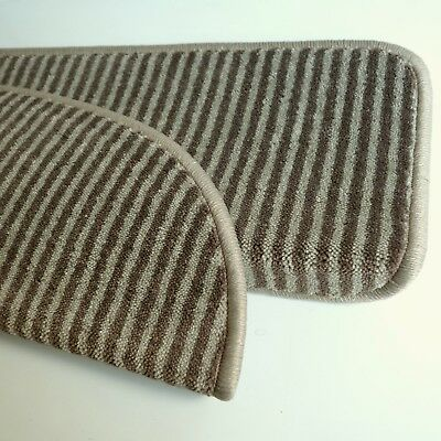 "Luxus Treppenschoner - Stufenmatte ""First Class Stripes"" Velours Taupe Braun"