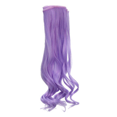 25x100cm Girl Dolls Curly Hair Wig for Doll DIY Doll Making Supplies Purple
