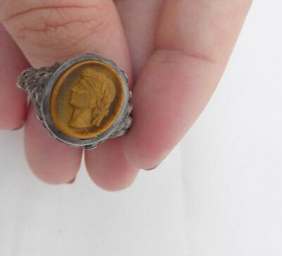 Fine carved tigers eye Roman cameo silver ring, 925