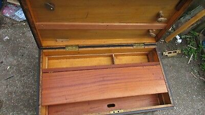 """old wooden tool box chest ex Weir Pumps pattern Maker made c1950s 30x16x12.1/2"""""""