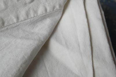 """French Antique Pure Linen Sheet Upholstery Textile 89X61"""" #j53"""