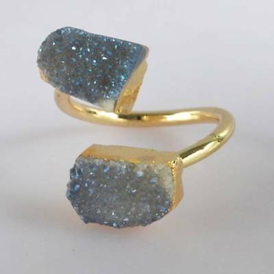 Size 6.5 Natural Agate Titanium Druzy Adjustable Ring Gold Plated T065207