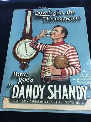 Vintage 12X9 1900's Dandy Shandy Football Player cardboard
