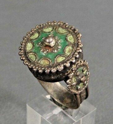 Nice Antique Byzantine Greek Large Crown Shield Bronze Enamel Jewelry Ring Us10