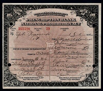 Prohibition Prescription Whiskey Alcohol Doctor Pharmacist Old 1926 Rx Bar PA