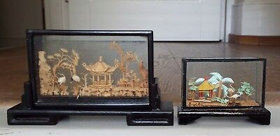 2 Vintage Small Oriental Chinese Cork Sculpture Diorama Glass Cases