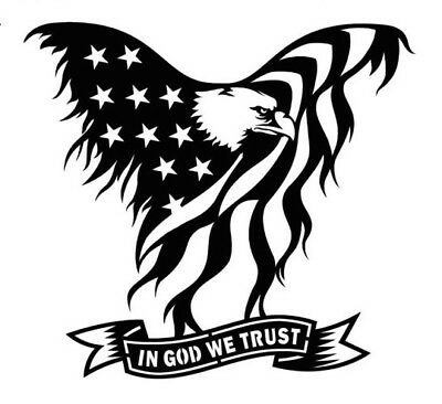high detail airbrush stencil in god we trust eagle FREE UK POSTAGE