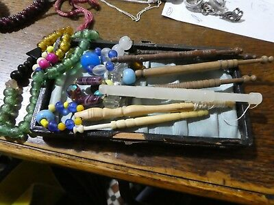 7 vintage lace making bobbins, beaded tops, with spare beads.
