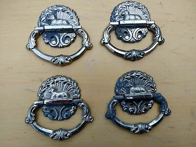 """Coffin Handles set of four small vintage 2 7/8"""" chromed metal : burial : funeral"""