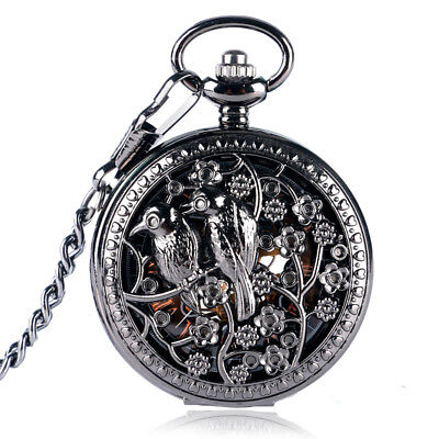 Steampunk Skeleton Hollow Birds Flowers Design Hand Wind Mechanical Pocket Watch