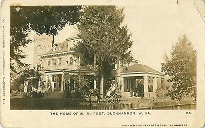 1912 Home of WM Post, Buckhannon, West Virginia Real Photo Postcard/RPPC