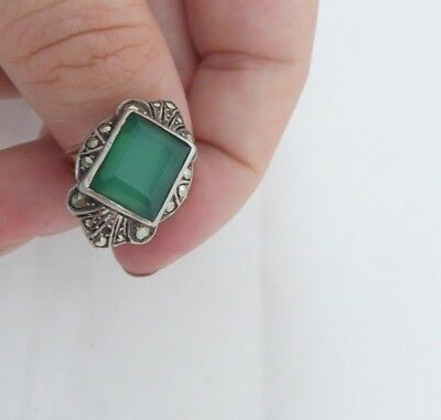 Fine 9ct gold & silver green stone & marcasite art deco ring, 375, 925