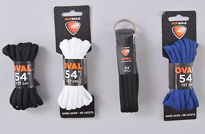 """LOT of 4 Sofsole Oval Laces 54"""" 137cm White Blue Black Shoe Sneaker Boot"""