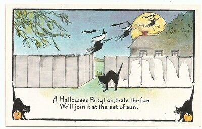 Black Cat witches fly across moon, Halloween Postcard, unused nice