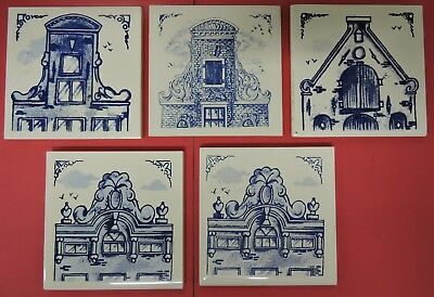 "Lot/5 Klm Business Class Delft Blue Tiles-Royal Dutch Airline Coasters-3"" X 3"""
