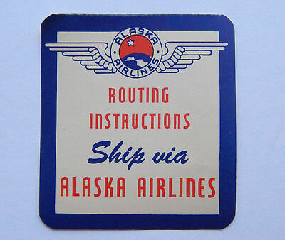 Vintage Routing Instructions Ship Via Alaska Airlines Luggage Label (1950s)