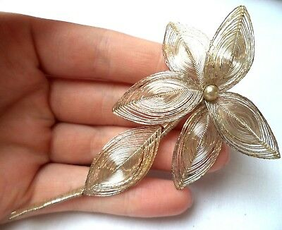 "Stunning Vintage Estate Silver Tone Wire Flower Leaf 4 1/4"" Brooch!!! 9918Z"