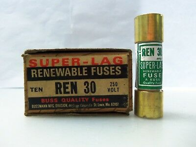 New Lot Bussmann REN 30 Renewable Fuses 30 AMP 250 Volt NIB