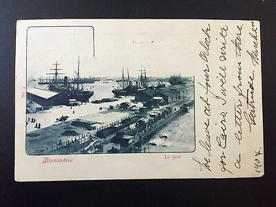 Egypt Alexandria Post view postcard Alexandrie cancel 1904