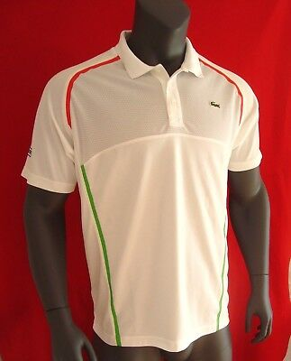 82f32f43 Lacoste SPORT White w/Racing Stripes Men's Ultra Dry Upper Mesh Polo Shirt  - NEW
