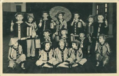 Children in Chinese costumes w umbrellas theater play antique photo