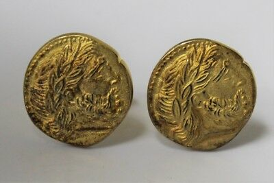 Antique 800 Silver Gold Plated Greek Roman Head Cuff Links #540