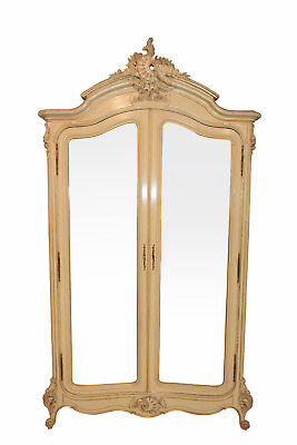 Beautiful Antique Painted Armoire, Double Mirrored Doors, French, 19th Century