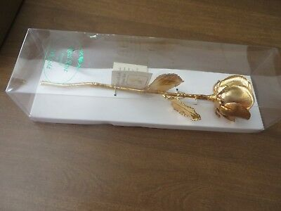New Genuine Real Rose Preserved and Dipped in 24k Gold in Original Box