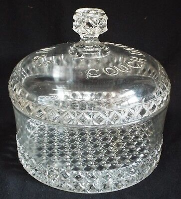 Antique W & S COUGH DROPS Pressed Glass Advertising STORE JAR w/ Lid Apothecary