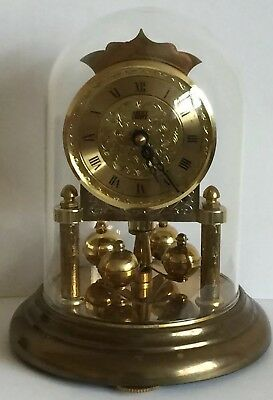 Vintage Hermle 967 Anstey Anniversary German Quartz Clock Under Glass Dome