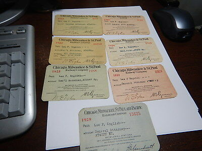 7  old Railroad passes Chicago, Milwaukee & St.Paul Railway old estate