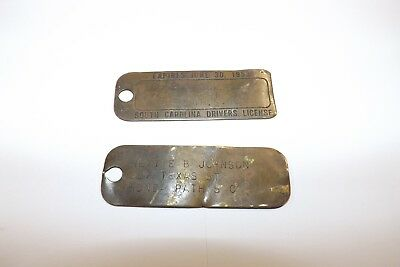 2 Old Different South Carolina Sc Brass Driver License Tags Honea Path 1953 & ?