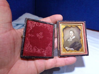 Antique Tinted Daguerreotype Photo   **i Know My Mind Woman**
