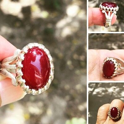 Agate خاتم حجر عقيق  احمرYamanii Stone  red color  925 silver man ring10US