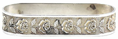 Antique S. Kirk & Son Inc. Repousse Napkin Ring Sterling Silver Hand Chased Rose
