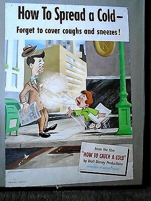 How To Spread a Cold  Poster- Kleenex Sponsor 14 x 20 Disney 1951