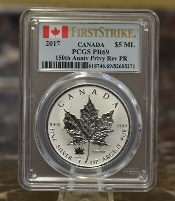 2017 Canada Maple Leaf PCGS PR69 150th Anniv. Proof Reverse Canadian Silver Coin