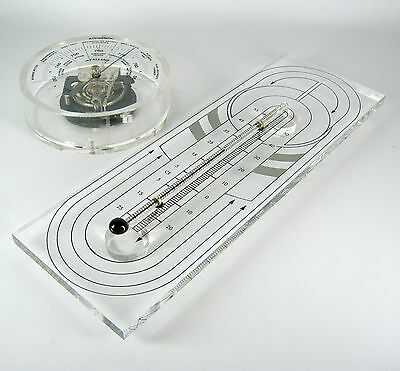 60er / 70er Jahre Acryl Barometer + Thermometer Space Age Retro Acyrlic