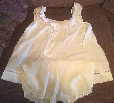 Vintage Yolande - Saks 5th Ave Yellow 2 Piece Pajama Baby Doll Set - Large