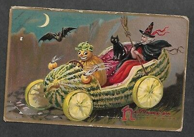 Post Card Halloween Tucks Gourd Car Witch Black Cat