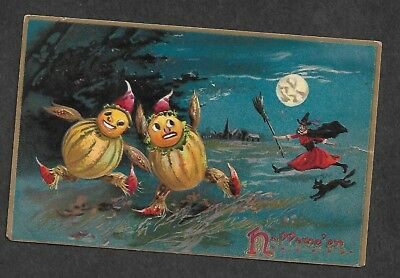 Post Card Halloween Tucks Running Living Gourds Witch Cat