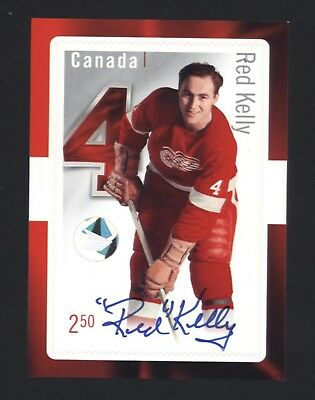 Canada post 2014 - Original 6 - signed Red Kelly stamp card - Autograph - NHL